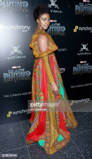 Actress Condola Rashad attends the screening of Marvel Studios' 'Black Panther' hosted by The Cinema Society with Ravage Wines and Synchrony at...