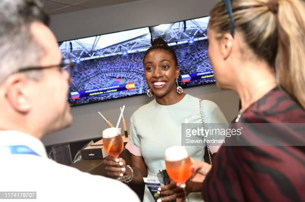 Actress Condola Rashad enjoys Coffee in the Lavazza Lounge during the 2019 US Open at Arthur Ashe Stadium on September 08, 2019 in New York City.