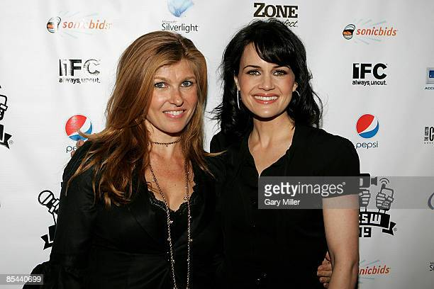 Actress Connie Britton and Actress Carla Gugino on the red carpet at the Paramount Theater for the premiere of 'Women In Trouble' during the South by...