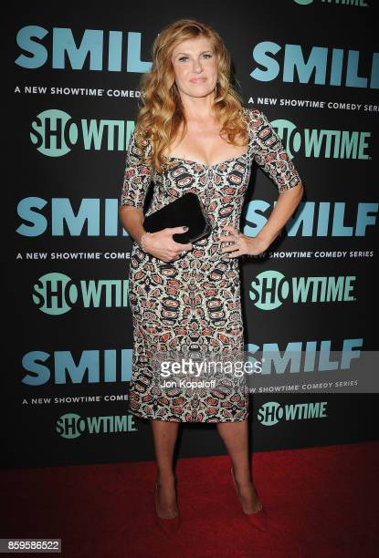 """Actress Connie Britton arrives at the Los Angeles Premiere """"SMILF"""" at Harmony Gold Theater on October 9, 2017 in Los Angeles, California."""