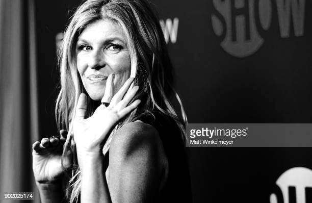 Actress Connie Britton arrives for the Showtime Golden Globe Nominees Celebration at Sunset Tower on January 6 2018 in Los Angeles California