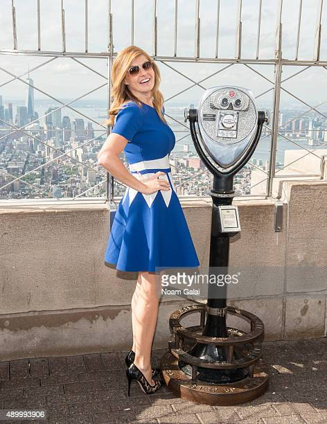 Actress Connie Britton lights The Empire State Building ahead of 2015 Global Citizen Festival at The Empire State Building on September 25 2015 in...