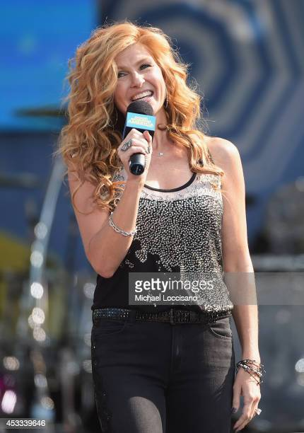 Actress Connie Britton performs on ABC's 'Good Morning America' at Rumsey Playfield Central Park on August 8 2014 in New York City