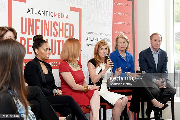 Actress Connie Britton speaking at the Atlantic Media breakfast on women, fairness and power on April 30, 2016 in Washington, DC while panelists La...