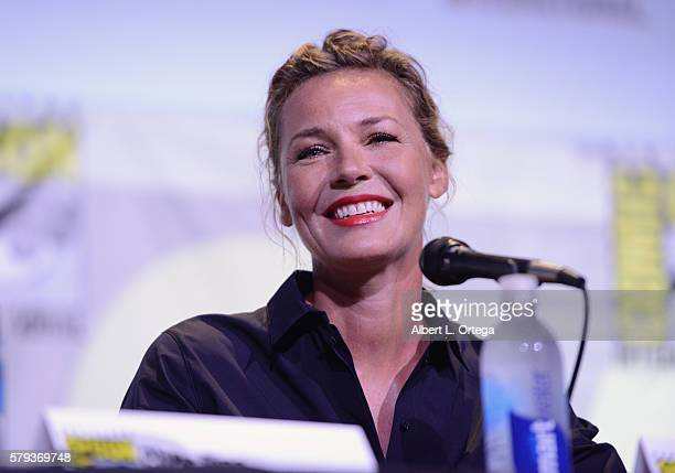 Actress Connie Nielsen attends the Warner Bros 'Wonder Woman' Presentation during ComicCon International 2016 at San Diego Convention Center on July...