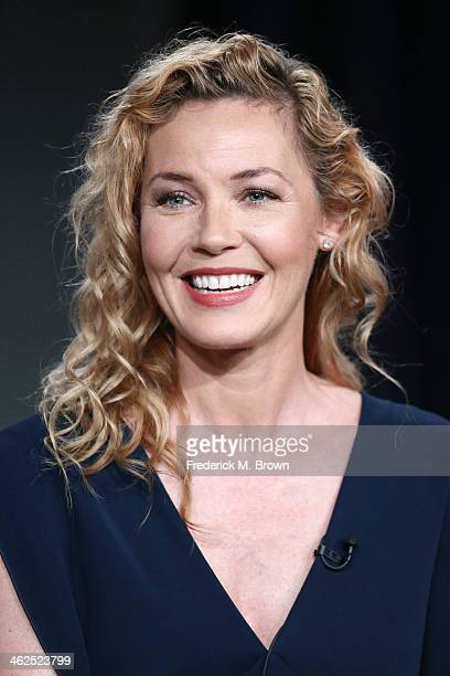 Actress Connie Nielsen of the television show The Following speak during the FOX portion of the 2014 Television Critics Association Press Tour at the...