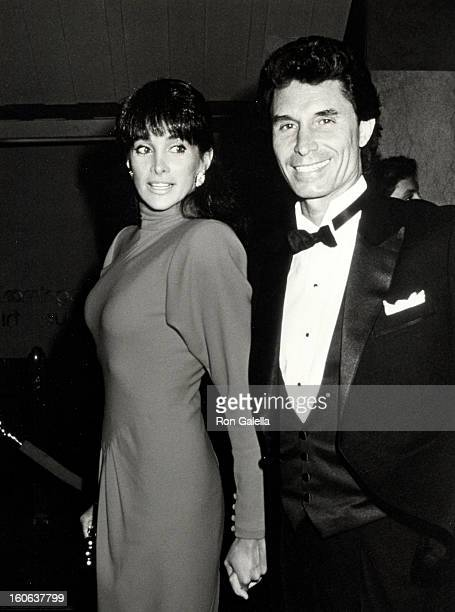 Actress Connie Sellecca and date Jay Vecchio attending 'Tinsel Town Fashion Benefit' on April 5 1988 at Bloomingdale's in New York City New York