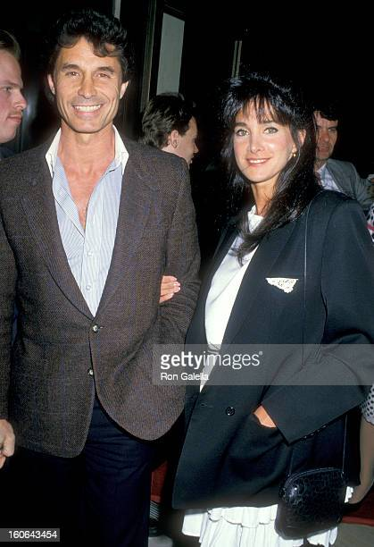 Actress Connie Sellecca and date Joe Vecchio attend 'The Fortunate Pilgrim' Century City Premiere on March 31 1988 at Cineplex Odeon Century Plaza...