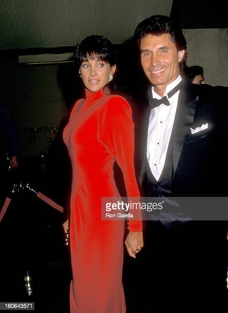 Actress Connie Sellecca and date Joe Vecchio attend the 'Hooray for Hollywood' Gala to Benefit amfAR on April 5 1988 at Bloomingdale's in New York...