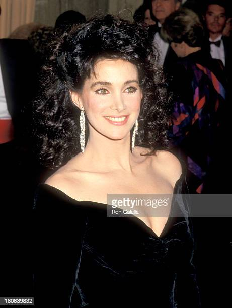 Actress Connie Sellecca attends the 44th Annual Golden Globe Awards on January 31 1987 at Beverly Hilton Hotel in Beverly Hills California