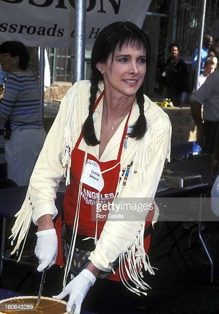 Actress Connie Sellecca attends the Los Angeles Mission's Thanksgiving Meal for the Homeless of LA on November 21 2001 at Los Angeles Mission in Los...