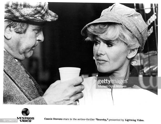Actress Connie Stevens on set of the movie Scorchy in 1976