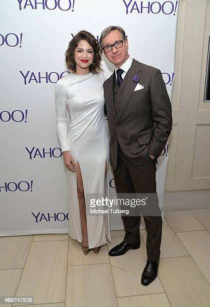 Actress Conor Leslie and producer Paul Feig attend the launch party for Yahoo Screen's new show 'Other Space' at The London on April 14 2015 in West...