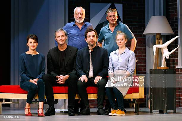 Actress Constance Dolle, autor and actor of the play Clement Gayet, actors Francois Berleand, Sebastien Castro, Stage Director Stephane Hillel and...