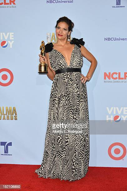Actress Constance Marie poses in the press room during the 2012 NCLR ALMA Awards at Pasadena Civic Auditorium on September 16 2012 in Pasadena...