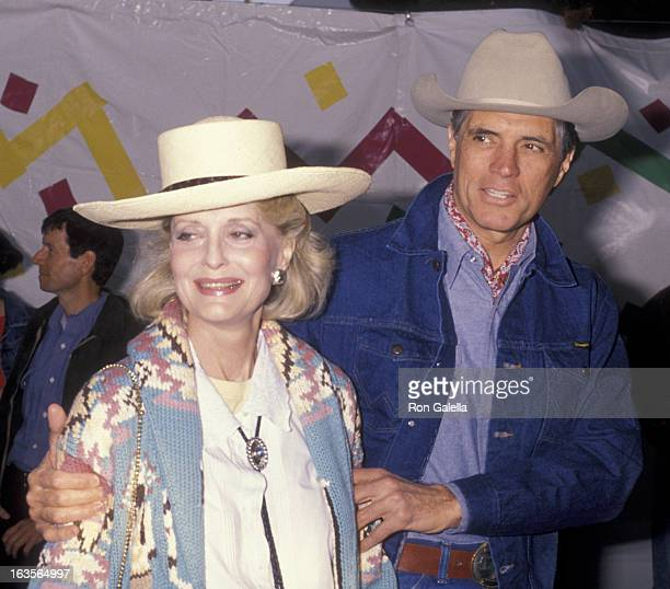 Actress Constance Towers and actor John Gavin attend 37th Annual SHARE Boomtown Party on May 19 1990 at the Santa Monica Civic Auditorium in Santa...