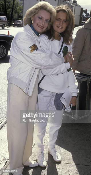 Actress Constance Towers and daughter Maureen McGrath attend Hollywood St Patrick's Day Parade on March 16 1986 in Hollywood California