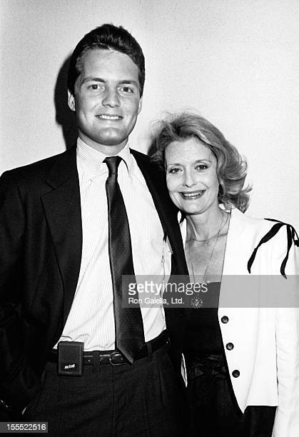 Actress Constance Towers and son Michael McGrath attend the wrap party for Capitol on June 4 1984 at Spago Restaurant in West Hollywood California