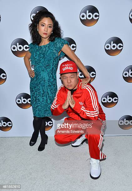 Actress Constance Wu and actor Eddie Huang arrive at the ABC TCA 'Winter Press Tour 2015' Red Carpet on January 14 2015 in Pasadena California