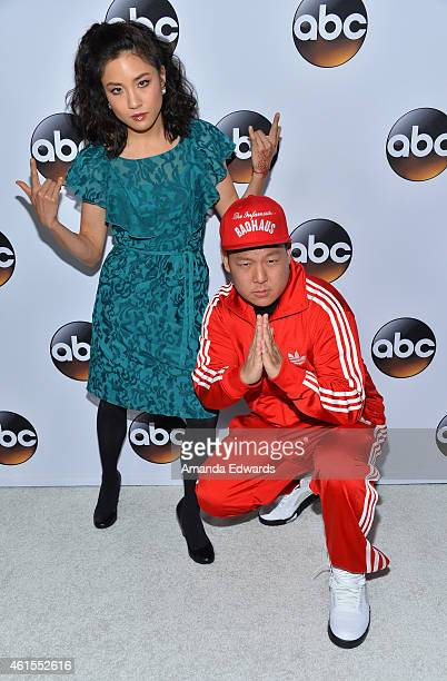 Actress Constance Wu and actor Eddie Huang arrive at the ABC TCA Winter Press Tour 2015 Red Carpet on January 14 2015 in Pasadena California