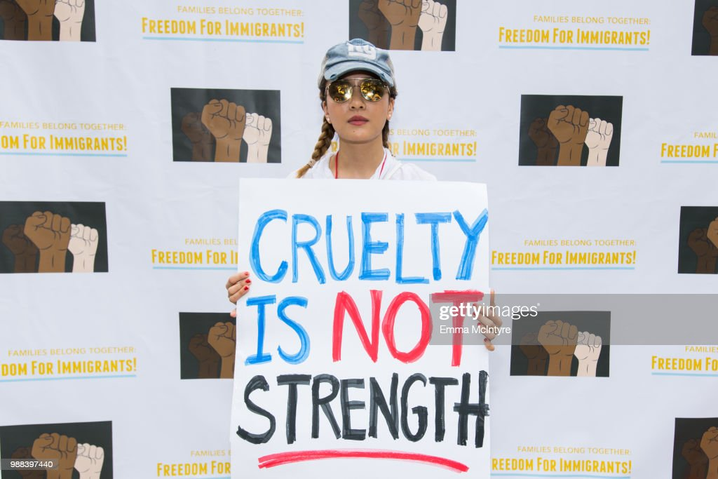 Actress Constance Wu attends 'Families Belong Together - Freedom for Immigrants March Los Angeles' at Los Angeles City Hall on June 30, 2018 in Los Angeles, California.