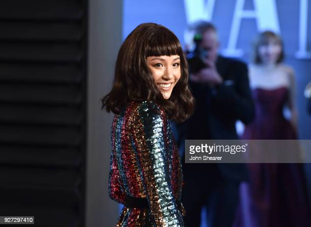 Actress Constance Wu attends the 2018 Vanity Fair Oscar Party hosted by Radhika Jones at Wallis Annenberg Center for the Performing Arts on March 4...