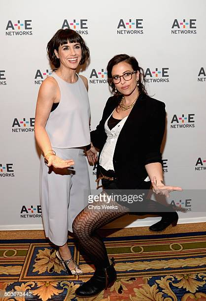 Actress Constance Zimmer and writer Sarah Gertrude Shapiro pose at the AE Networks 2016 Television Critics Association Press Tour for UnREAL at The...