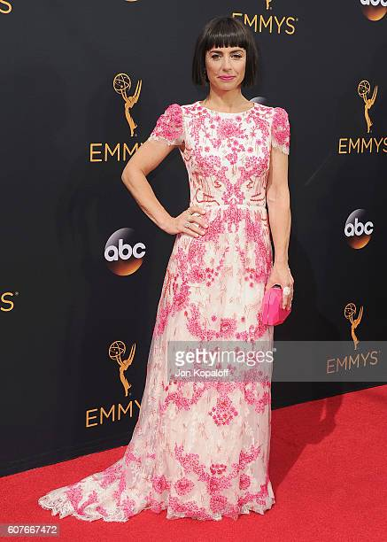 Actress Constance Zimmer arrives at the 68th Annual Primetime Emmy Awards at Microsoft Theater on September 18 2016 in Los Angeles California