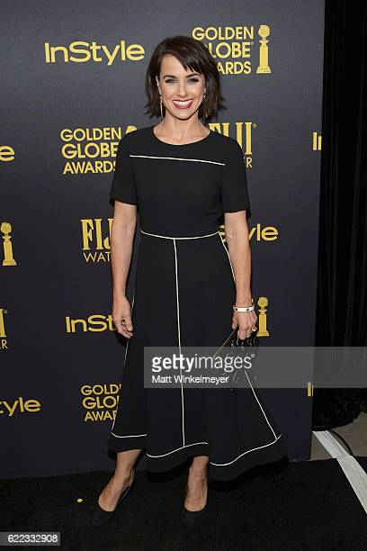 Actress Constance Zimmer arrives at the Hollywood Foreign Press Association and InStyle celebrate the 2017 Golden Globe Award Season at Catch LA on...