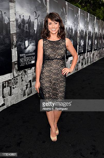 Actress Constance Zimmer arrives for the premiere of HBO's The Newsroom Season 2 at Paramount Theater on the Paramount Studios lot on July 10 2013 in...