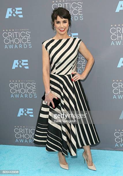 Actress Constance Zimmer attends The 21st Annual Critics' Choice Awards at Barker Hangar on January 17 2016 in Santa Monica California