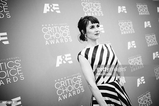 Actress Constance Zimmer attends the 21st annual Critics' Choice Awards at Barker Hangar on on January 17, 2016 in Santa Monica, California.