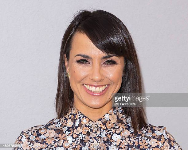 Actress Constance Zimmer attends the Wolk Morias debut collection fashion show at The Michael Kohn Gallery on April 13 2015 in Los Angeles California