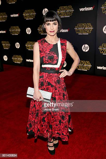 """Actress Constance Zimmer attends the World Premiere of """"Star Wars: The Force Awakens"""" at the Dolby, El Capitan, and TCL Theatres on December 14, 2015..."""