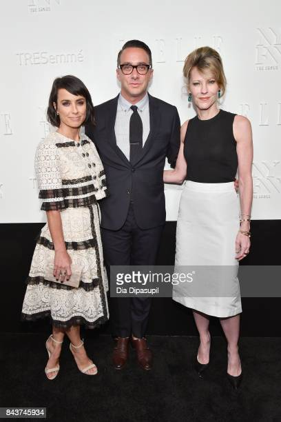 Actress Constance Zimmer President of E Entertainment Adam Stotsky and EditorinChief of ELLE Magazine Robbie Myers attend the NYFW Kickoff Party A...