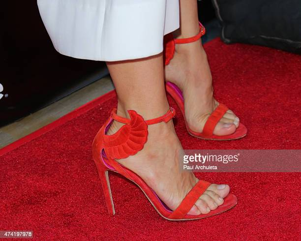 Actress Constance Zimmer Shoe Detail attends the 'Unreal' premiere party at SIXTY Beverly Hills on May 20 2015 in Beverly Hills California