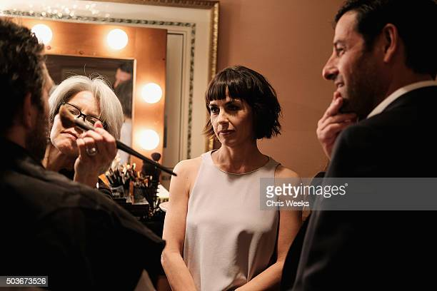 Actress Constance Zimmer talks in the green room at the AE Networks 2016 Television Critics Association Press Tour for UnREAL at The Langham...