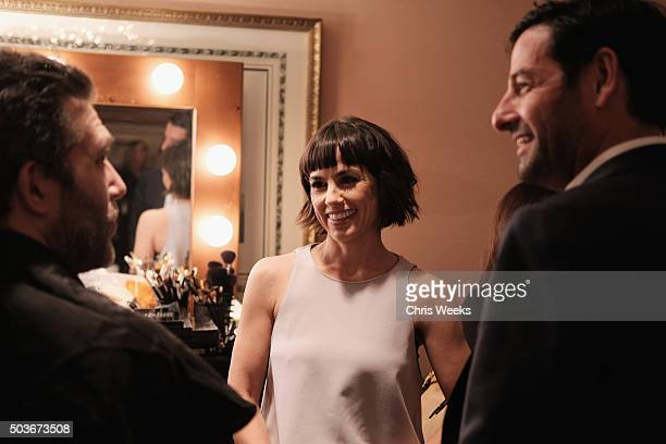 Actress Constance Zimmer talks to actor Craig Bierko in the green room at the AE Networks 2016 Television Critics Association Press Tour for UnREAL...
