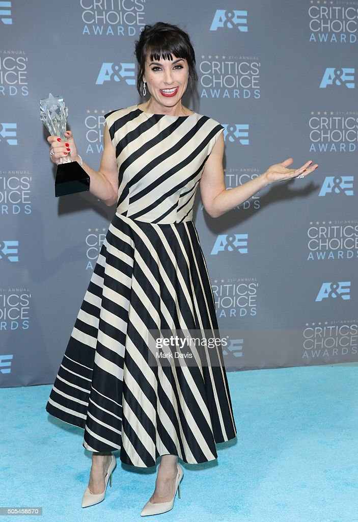 Actress Constance Zimmer, winner of the award for Best Supporting Actress in a Drama Series for 'Unreal,' poses in the press room during the 21st Annual Critics' Choice Awards at Barker Hangar on January 17, 2016 in Santa Monica, California.