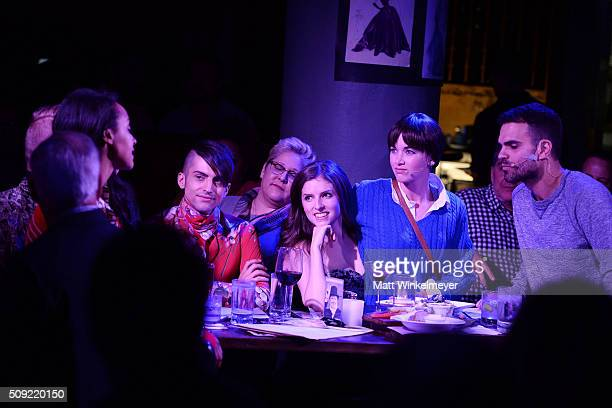 Actress Corbin Reid Mitch Grassi of Pentatonix and actors Anna Kendrick Kelley Jakle and Spencer Strong Smith attend The Unauthorized Musical Parody...