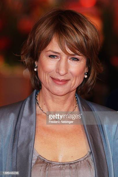 Actress Corinna Harfouch attends the Was Bleibt Premiere during day six of the 62nd Berlin International Film Festival at the Berlinale Palast on...