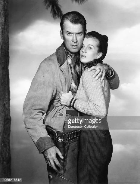 Actress Corinne Calvet and James Stewart in a scene from the movie The Far Country