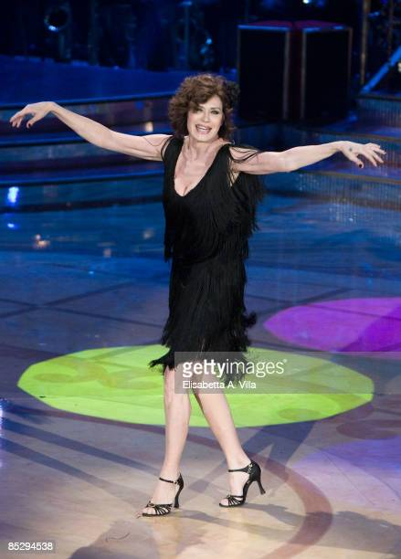 Actress Corinne Clery performs during the tv show Strictly Come Dancing on March 7 2009 in Rome Italy