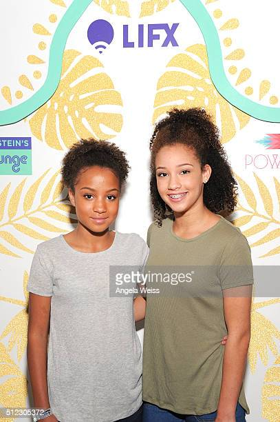 Actress Corinne Massiah and Halle Massiah attend Kari Feinstein's Style Lounge presented by LIFX on February 25 2016 in Los Angeles California