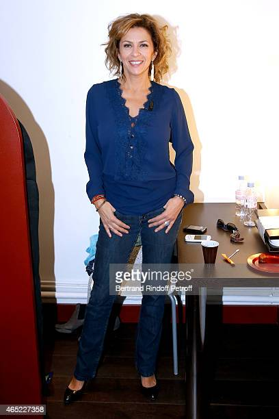 Actress Corinne Touzet presents the Theater Play 'Une journee particuliere', performed at Petit Montparnasse, during the 'Vivement Dimanche' French...