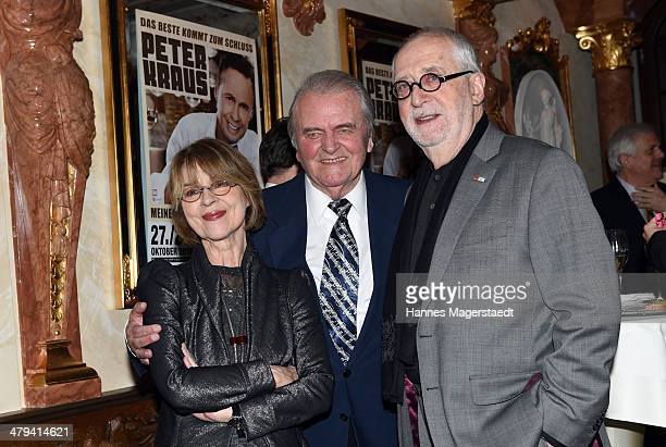 Actress Cornelia Froboess, Max Greger and Hellmuth Matiasek attend the Peter Kraus 75th Birthday party at Suedtiroler Stuben on March 18, 2014 in...