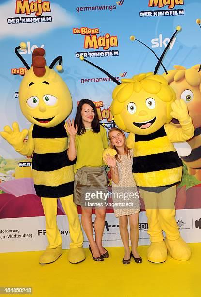 Actress Cosma Shiva Hagen and Nina Schatton attend the German premiere of the film 'Die Biene Maja Der Kinofilm' at Mathaeser Filmpalast on September...