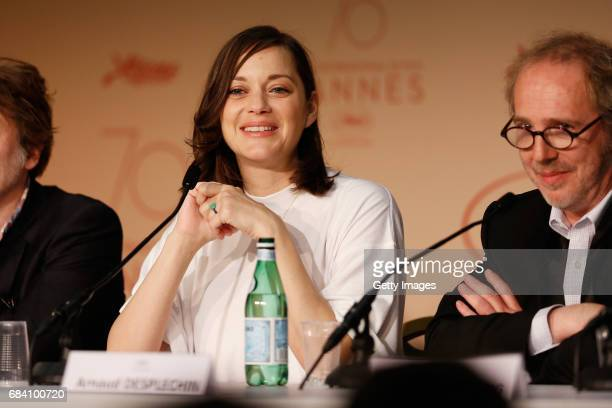 Actress Cotillard and director Arnaud Desplechin attend the 'Ismael's Ghosts ' press conference during the 70th annual Cannes Film Festival at Palais...