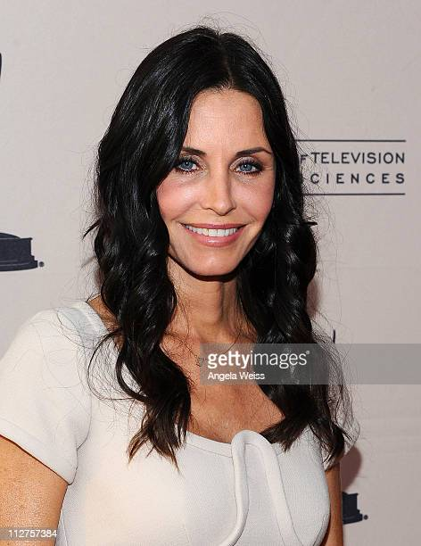 Actress Courteney Cox arrives at The Academy of Television Arts Sciences presents an evening with 'Cougar Town' held at Leonard H Goldenson Theatre...