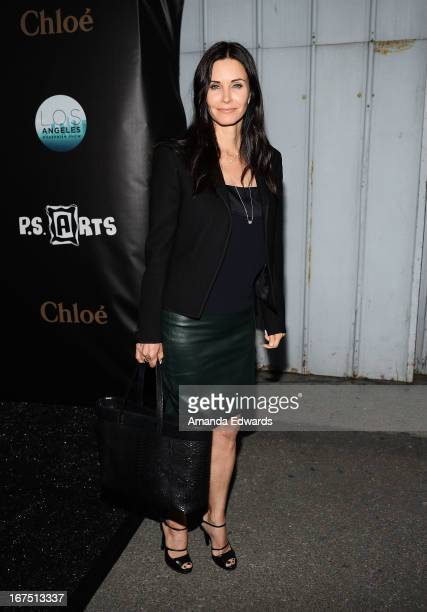 Actress Courteney Cox arrives at the Modernism opening night preview party benefiting PS Arts at The Barker Hanger on April 25 2013 in Santa Monica...